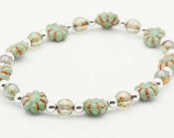Flower Child | Green Stretch Bracelet | Boho Elastic Bracelet | Layering Bracelet | Stacking Bracelet | Czech Glass - S, M, L - 1BRC0009SS