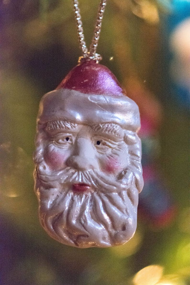 Vintage Santa Ornament | Santa Claus Ornament | Christmas Tree Ornament |  Polymer Clay Ornament | Handmade Tree Ornament - OR00041