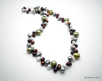 Cranberry Olive Freshwater Pearl Necklace | Pearl Necklace | Pearl Drop Necklace | Real Pearl Necklace | Unique Pearl Necklace - NE00238
