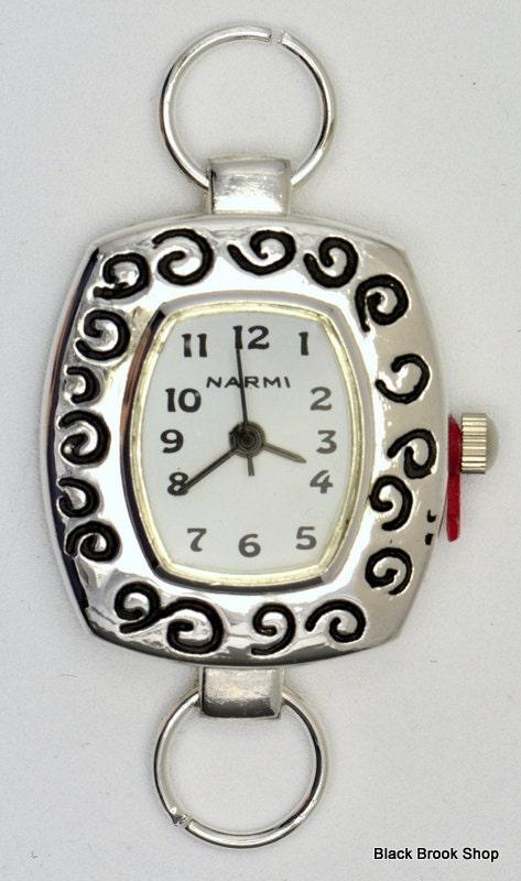 Cadran de montre Blanc swirly bordure carré | Blanc montre cadran de montre | Cadran de montre en argent | Cadran de montre dames | Cadran de montre de poignet | Cadran de montre de perles - WF00121 f6fc60