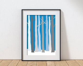Wintry blue forest - Tree Print - Blue and gray winter trees - Digital Download - Printable Art