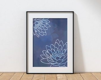 Shades of Blue Flower Watercolor Art Print on Matte Paper