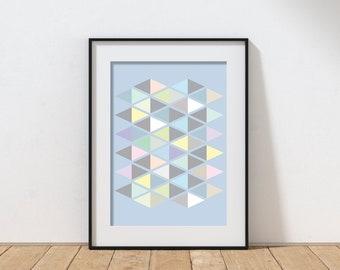 Mid-century modern geometric diamond print in pastels - Matte Giclee Print - Minimal pattern in blues and grays