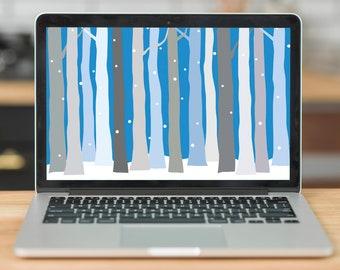 Winter Trees Laptop Wallpaper    Desktop Wallpaper   Digital Download - Snowy Blue Trees