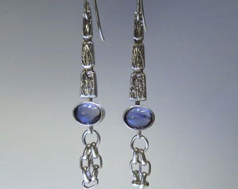Sterling Silver and Gemstone Earrings - Iolite - Violet Gem - Metalsmith Work - One of a Kind - Silver Dangle Earrings - Silver Earrings