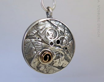 Textured Silver Pendant with 14K yellow Gold - Rustic Pendant - Fused Sterling Silver Hollow Pendant with 14K Gold