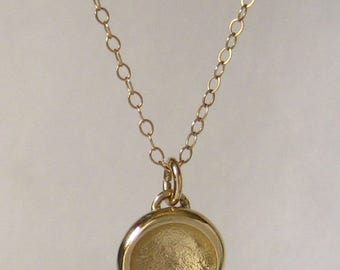Solid 14K Gold Charm Necklace - Sand Cast - Everyday Gold  Necklace