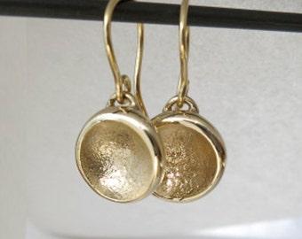 14K Gold Charm Earrings - Sand Cast - Everyday Gold Earrings
