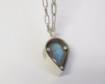 Sterling Silver Gemstone  Pendant - Labradorite Pendant - OOAK Pendant - Silver and Labradorite Necklace - Gemstone Jewelry