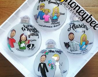 Personalized Family Ornament: Our First Christmas, Proposal, Maternity, Engagement  handpainted hand painted gift idea for couple, marriage