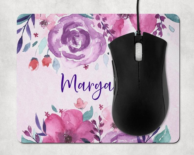 Flowers Custom Mousepad Purple Flowers Floral Name Mousepad Personalized Mouse Pad Personalized Mousepad