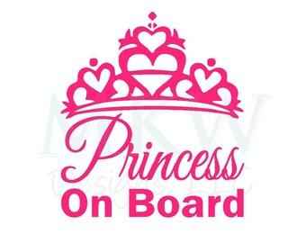 Princess On Board Vinyl Decal - Baby on Board