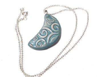 Moon Pendant Necklace, Ceramic Moon Chain, Moon Pottery