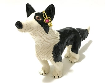 Dog Ring Holder, Border Collie Art, Hand-Built Border Collie Ring Holder, Collie Cake Topper