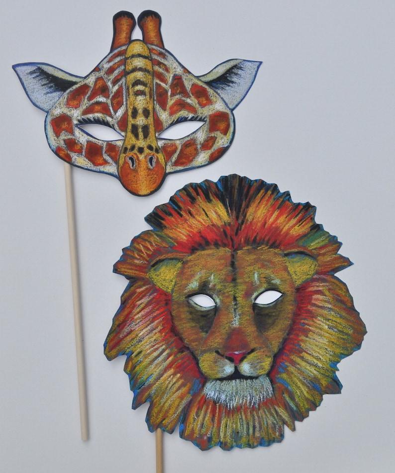 Wild Animal Masks  Jungle Masks  Tiger Lion Giraffe Chimp