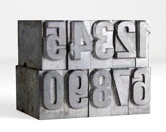 Letterpress Metal Type Blocks NUMBERS - 36pt