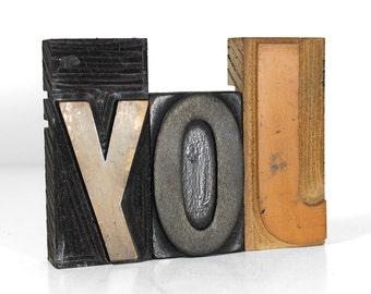 """JOY in 4"""" Wooden Letterpress"""