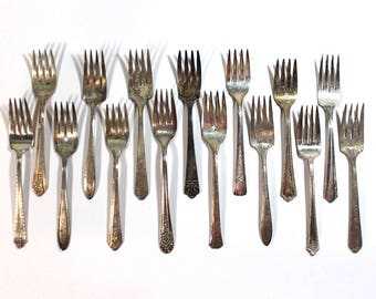 Set of 15 Silver Plate Scrap Salad Forks • Craft Supplies