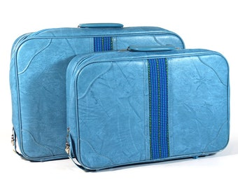 Set of Two Vintage Blue Suitcases