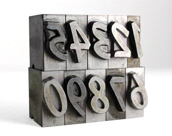 NUMBERS - 60pt Metal Letterpress (Dom Diagonal)