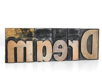 """DREAM in 3"""" Wooden Letterpress"""
