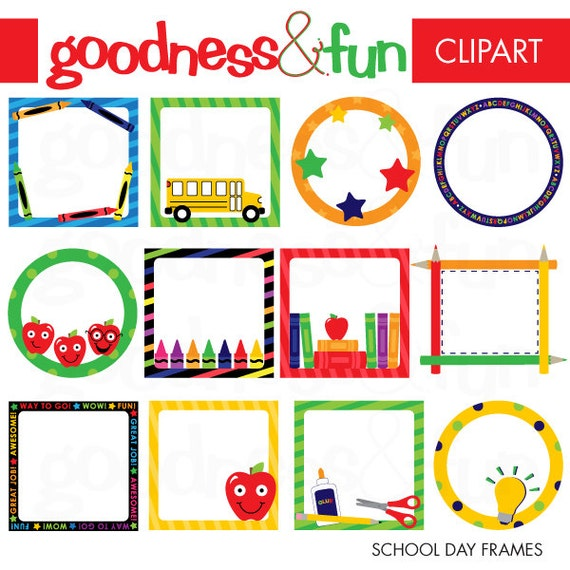 Buy 2 Get 1 FREE School Day Frames Clipart Digital Back | Etsy