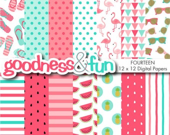 Buy 2, Get 1 FREE - Happy Flamingo Digital Papers - Digital Flamingo Summer Paper Pack - Instant Download