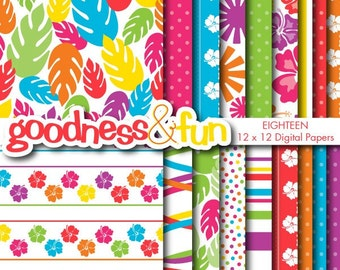 Buy 2, Get 1 FREE - Tropical Escape Digital Papers - Digital Tropical Paper Pack - Instant Download