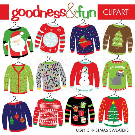 Christmas Sweater Clipart.Buy 2 Get 1 Free Ugly Christmas Sweater Christmas Clipart Digital Ugly Christmas Sweater Christmas Clipart Instant Download