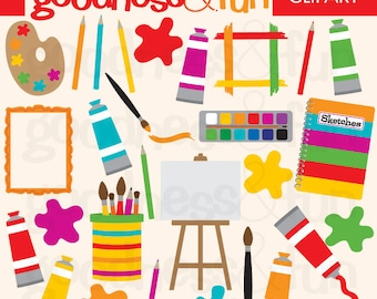 Buy 2, Get 1 FREE - Artist Fun Clipart - Digital Painting & Artist Clipart - Instant Download