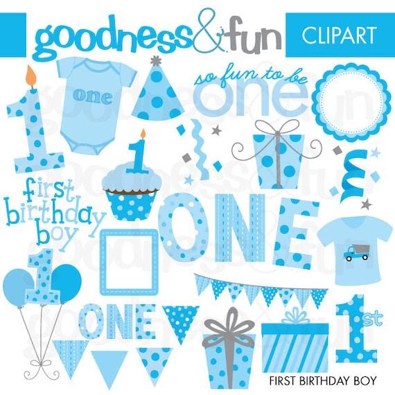 Buy 2 Get 1 FREE First Birthday Boy Clipart Digital