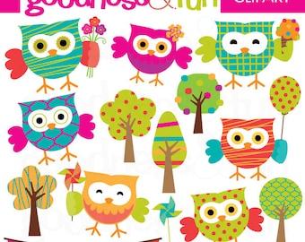 Summer owl clipart | Etsy