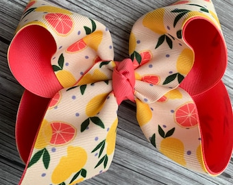 264dcee7e269 Lemon Freshly Squeezed Hair Bow m2m Matilda Jane ~ Extra Large Hair Bow ~  Brilliant Daydream Yellow White Coral Bow ~ 5