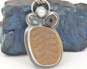 fern fossil labradorite pearl and rough garnet sterling silver pendant necklace