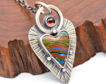 rainbow calsilica and garnet sterling silver pendant necklace