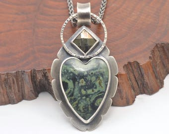 kambaba jasper heart and pyrite sterling silver pendant necklace