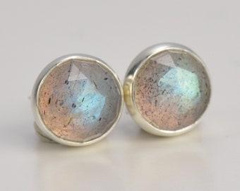 labradorite 6mm rose cut sterling silver stud earrings pair