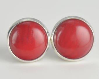 red coral 8mm sterling silver stud earrings