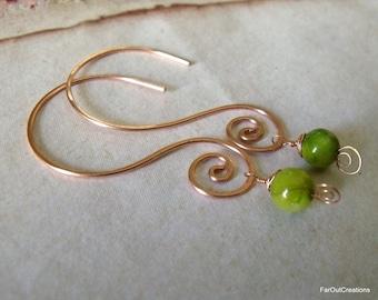 Open Hoop Copper Spiral Earrings In Chartreuse