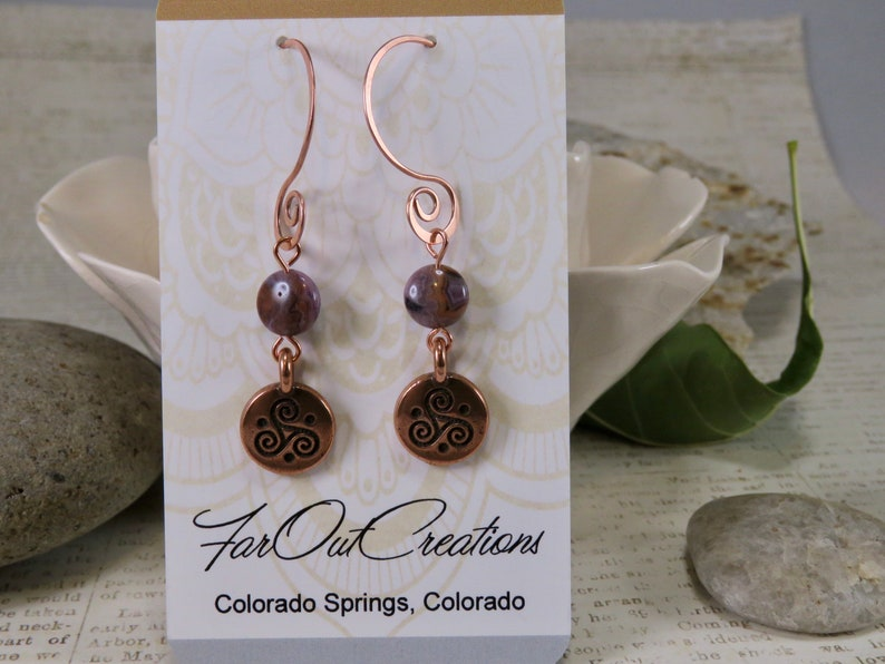 Triple Celtic Spiral in Copper with Purple Jasper Stones Hand Forged Hammered Copper Hoops