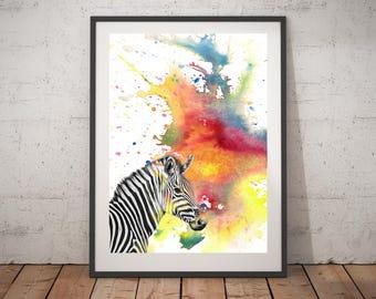 Zebra Painting Art Animal Nursery Art Print From Original Watercolor Painting Art Print 13x19 Zebra Painting Nursery Art Print Painting