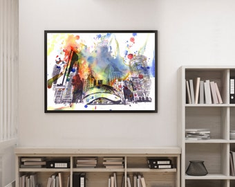 Chicago Bean Cityscape Skyline Landscape Art Print From Original Watercolor Painting Art Print Chicago Art Print Wall Art Decor Skyline