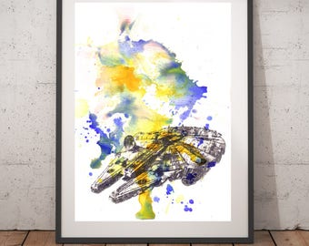 Star Wars Art Star Wars Decor Millennium Falcon Star Wars Poster Print Watercolor Painting 13x19 Star Wars Baby Nursery Art Star Wars Gift