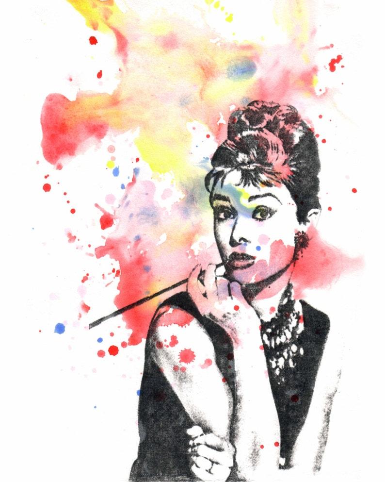 Audrey Hepburn Stampa d arte Poster dello Splatter  01c35ead6754