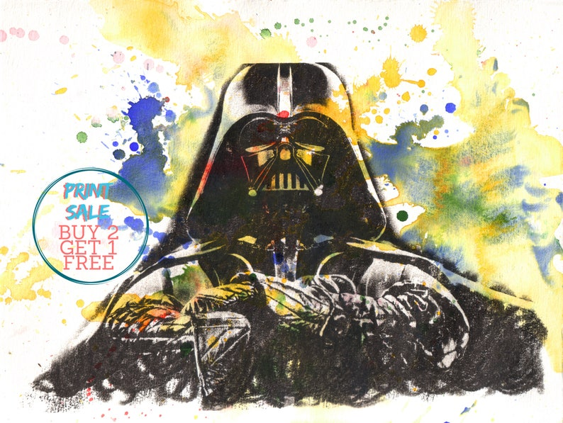 Movie Splatter Star Wars illustration Wall Art ART PRINT Darth Vader