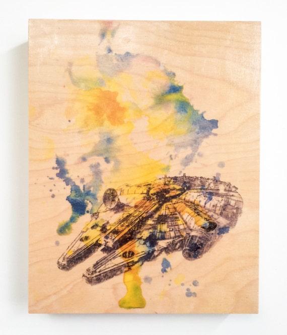 Star Wars Art on Wood Wall Art Decor Art Millennium Falcon