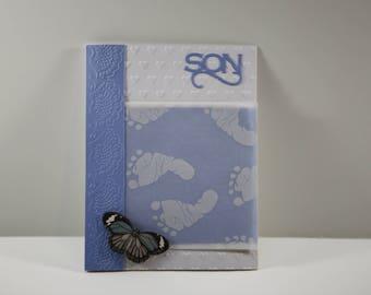 Handmade New Baby Boy Card, new baby card, newborn greeting card
