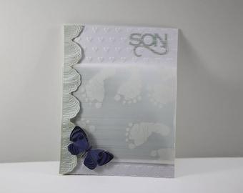 Handmade New Baby Boy Card, newborn baby greeting card