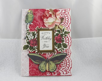birthday card, happy birthday card, handmade birthday card, floral birthday card
