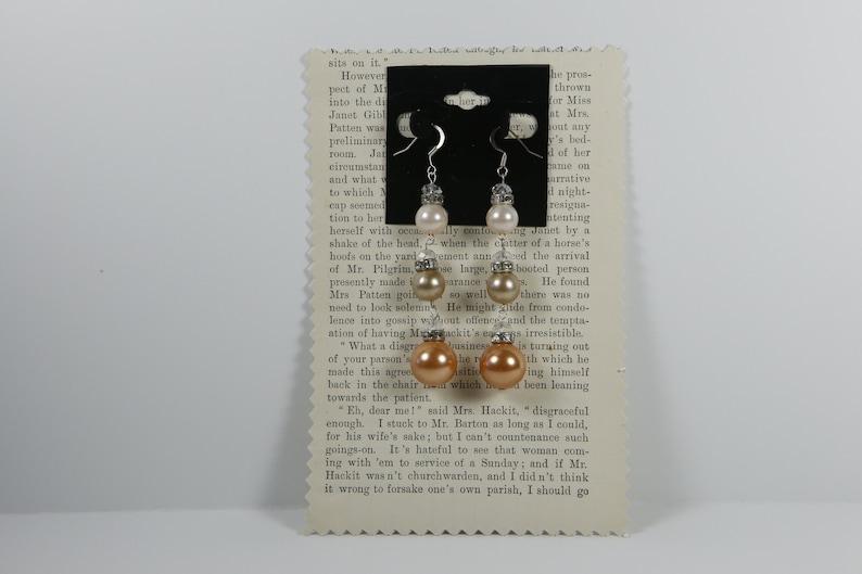 pearls earrings shiny long dangle handmade jewelry for women